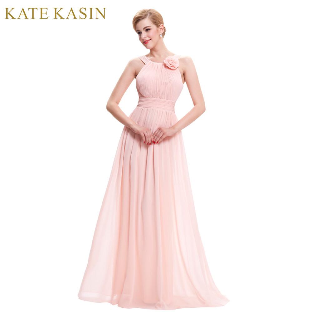 Vestido largo de color rosa claro con una flor en el hombro - Gangas Go