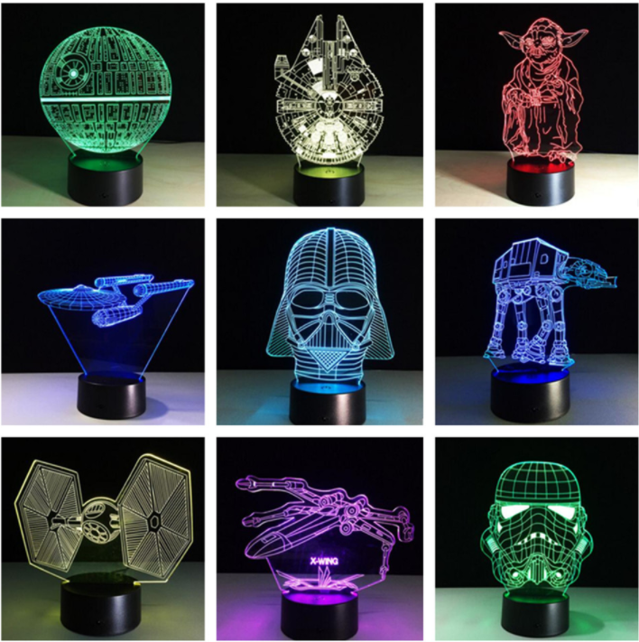 lamparas Stars Wars de colores