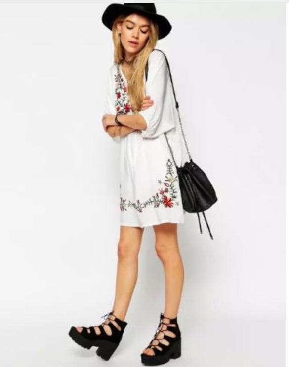Vestido tunica verano bordados