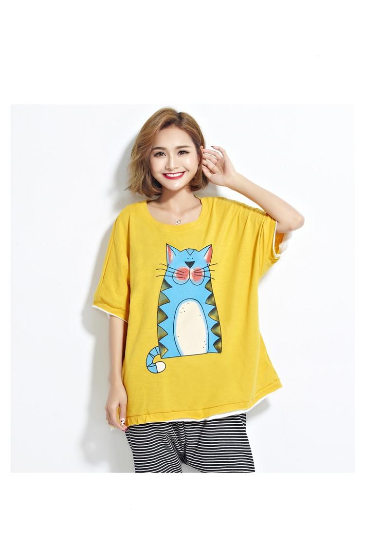 camiseta verano mujer con gato