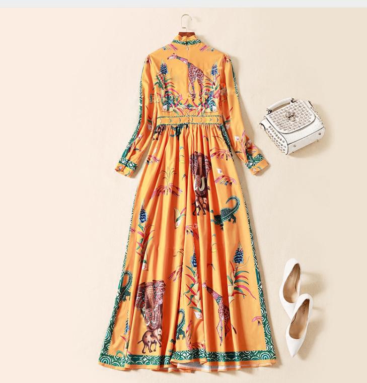 vestido largo seda estampado clasico