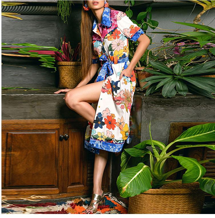 vestido midi flores verano