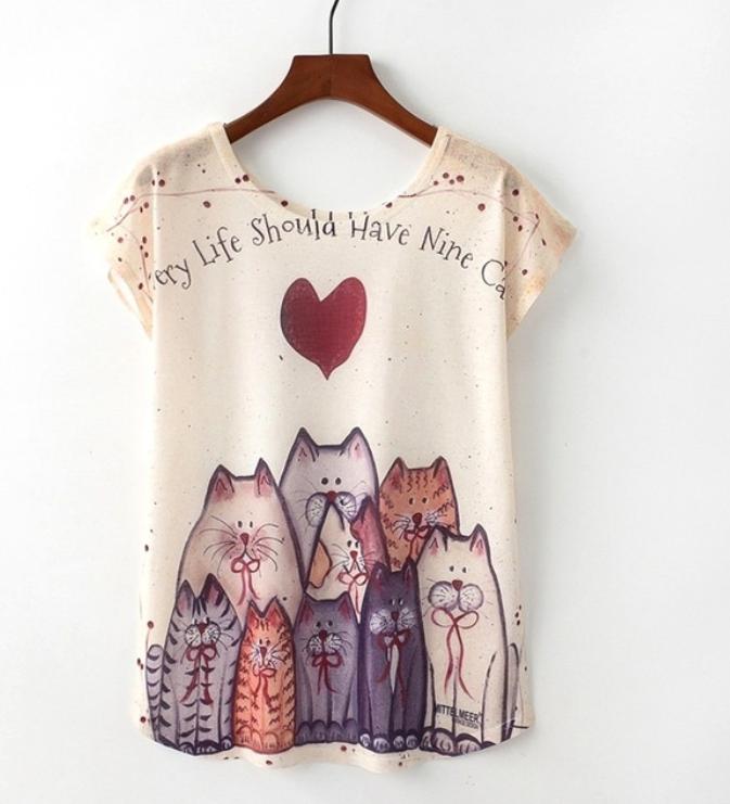 camiseta mujer gatos kawai
