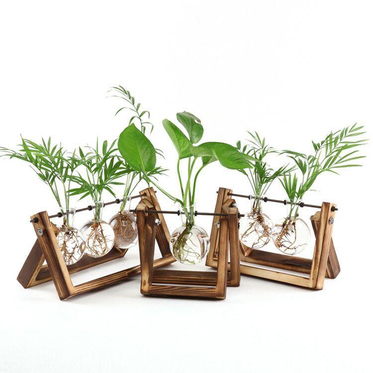 maceta cristal soporte madera