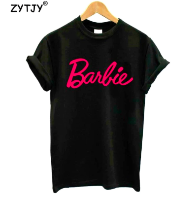 camiseta negra logo barbie