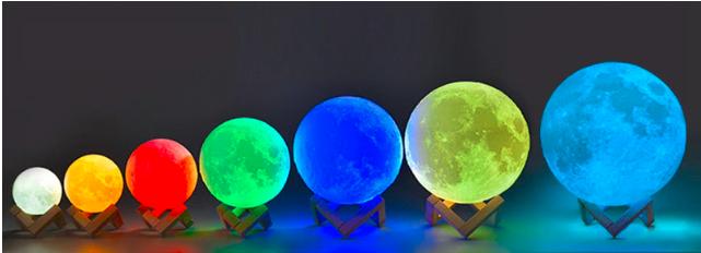 diferentes tamaños de lampara luna 3d